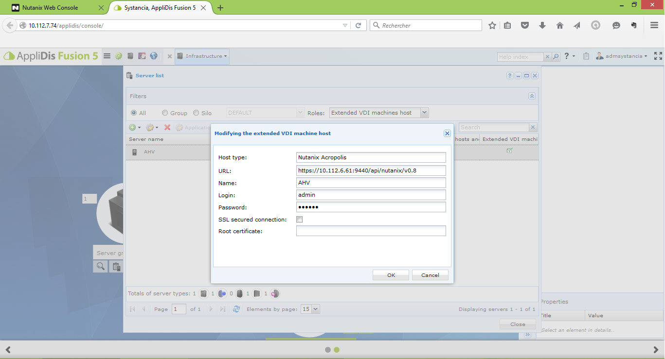 Applidis infra nutanix screen